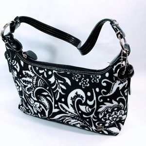 The Sak Crochet Shoulder Purse Handbag Black/White